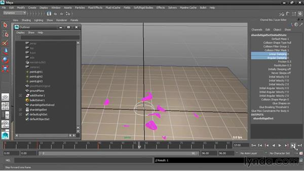 Slowing motion with damping: Dynamic Simulations with Bullet Physics in Maya