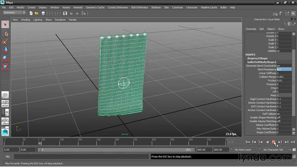 Adjusting soft body properties: Dynamic Simulations with Bullet Physics in Maya