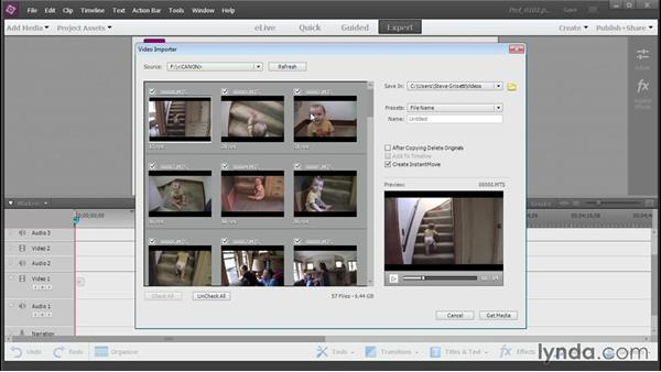 Adding media from AVCHD and portable devices: Up and Running with Premiere Elements 13