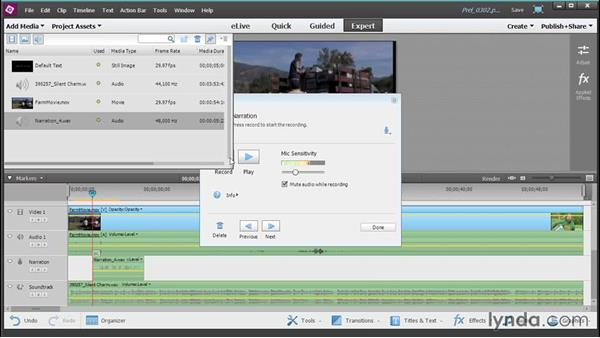 Recording narration into your project: Up and Running with Premiere Elements 13
