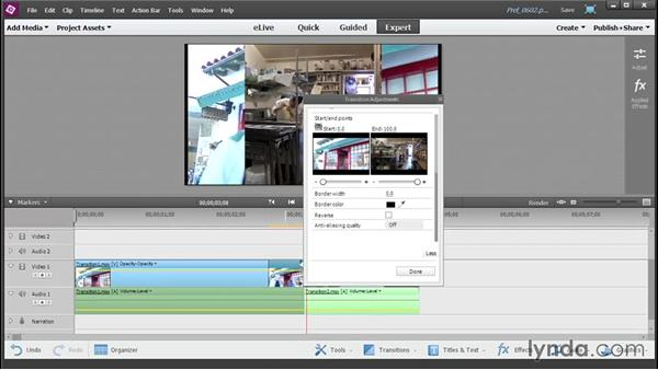 Adding and customizing transitions: Up and Running with Premiere Elements 13