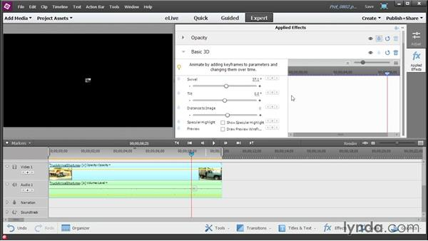 Keyframing effects: Up and Running with Premiere Elements 13
