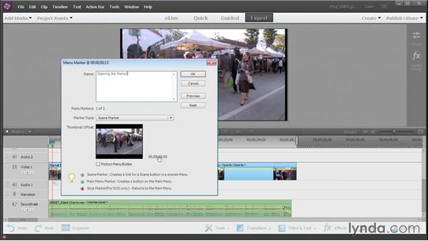 Adding DVD and Blu-ray menu markers: Up and Running with Premiere Elements 13