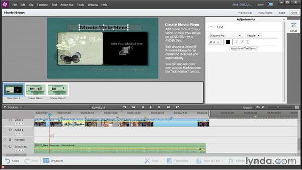 Applying a movie menu template: Up and Running with Premiere Elements 13