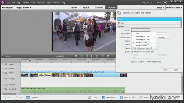 Burn a DVD, AVCHD, or Blu-ray disc: Up and Running with Premiere Elements 13