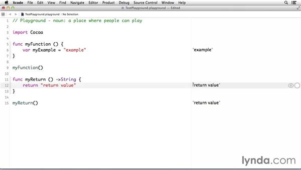 Creating functions: Cocoa with Swift Essential Training