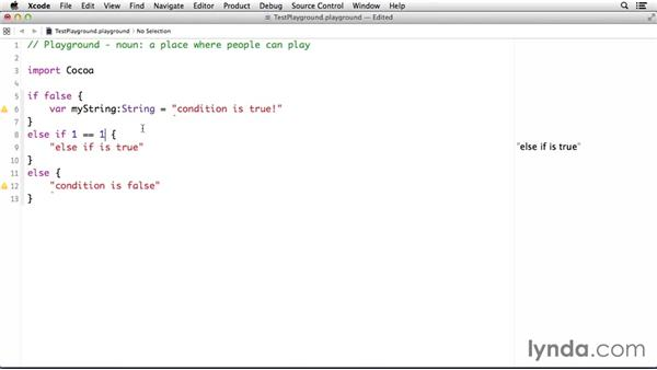 Using loops and conditional statements: Cocoa with Swift Essential Training
