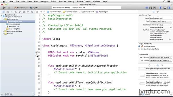 Creating basic interaction: Cocoa with Swift Essential Training