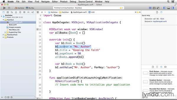 Using key-value coding: Cocoa with Swift Essential Training