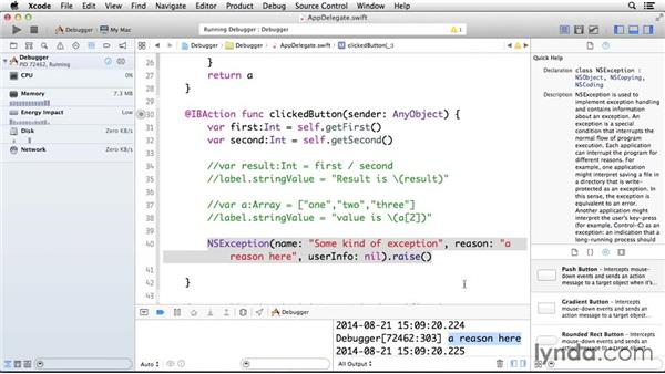 Creating an exception breakpoint: Cocoa with Swift Essential Training