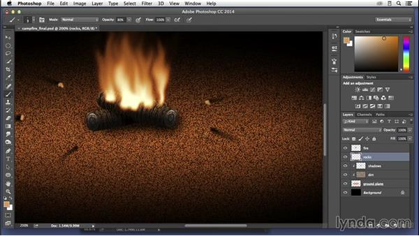 Creating a campfire scene: Adding the campfire: Pixel Playground