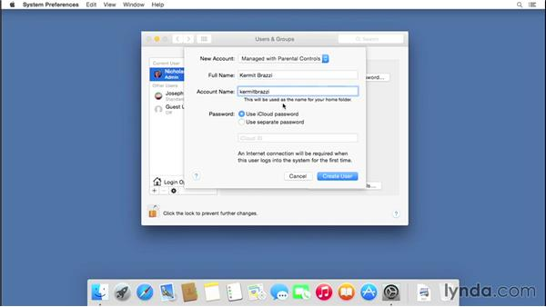 Setting up multiple user accounts: Mac OS X Yosemite Essential Training