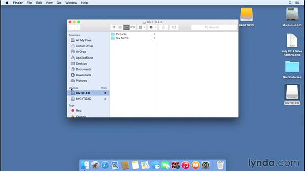 Connecting external drives and deciding what shows up on the desktop: Mac OS X Yosemite Essential Training