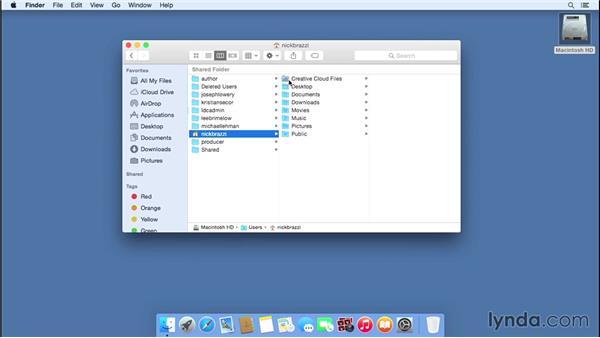 Understanding essential folder structure, including the home folder: Mac OS X Yosemite Essential Training