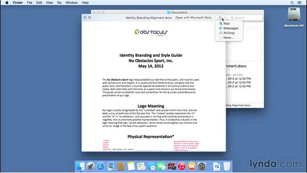 Using Quick Look to view a file without opening it: Mac OS X Yosemite Essential Training