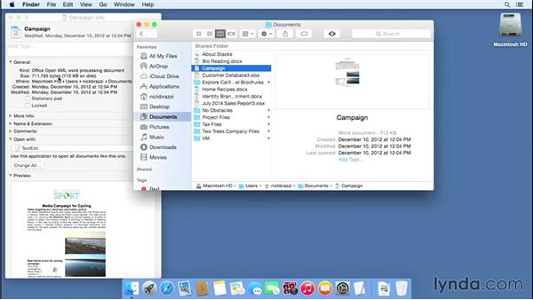 Getting information about files and folders: Mac OS X Yosemite Essential Training