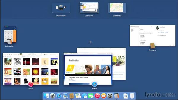 Using Mission Control and full-screen apps to organize a cluttered workspace: Mac OS X Yosemite Essential Training