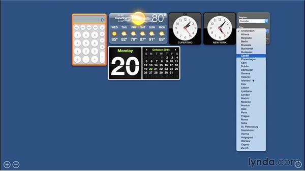 Using Dashboard Widgets for quick tasks: Mac OS X Yosemite Essential Training