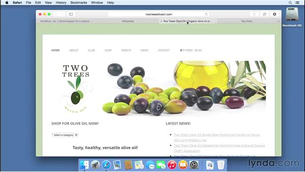 Using tabs and streamlining Safari: Mac OS X Yosemite Essential Training