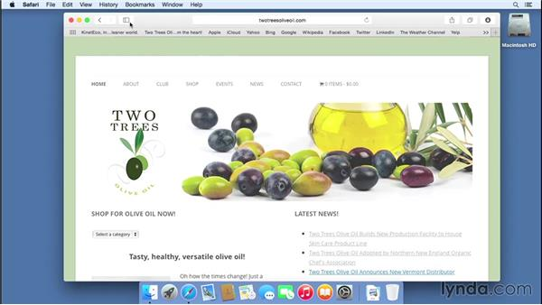 Bookmarking important websites: Mac OS X Yosemite Essential Training