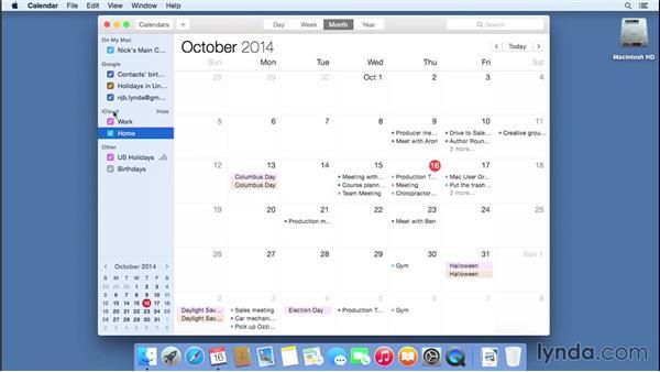 Using Calendar to organize a schedule: Mac OS X Yosemite Essential Training