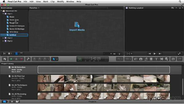 Selecting and organizing clips: Narrative Scene Editing with Final Cut Pro X v10.1.x