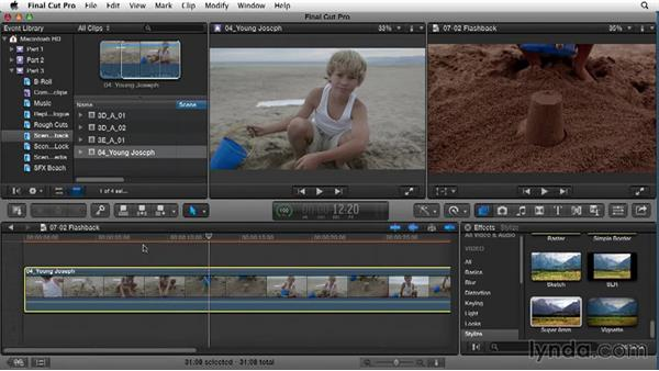 Using effects to create a flashback: Narrative Scene Editing with Final Cut Pro X v10.1.x