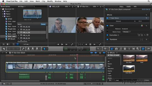 Using color to enhance a scene: Narrative Scene Editing with Final Cut Pro X v10.1.x
