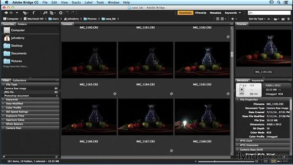 Using Adobe Bridge to sort and select photos: Lighting and Photographing a Still Life