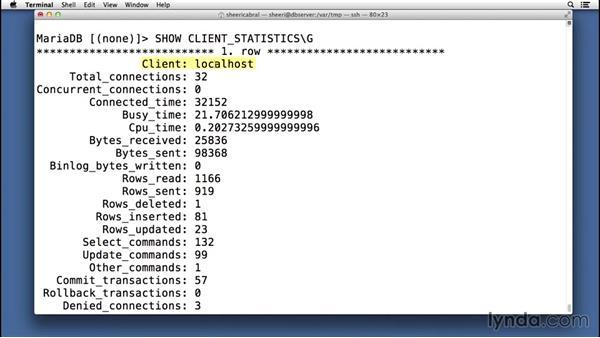 Viewing user statistics: Advanced Topics in MySQL and MariaDB