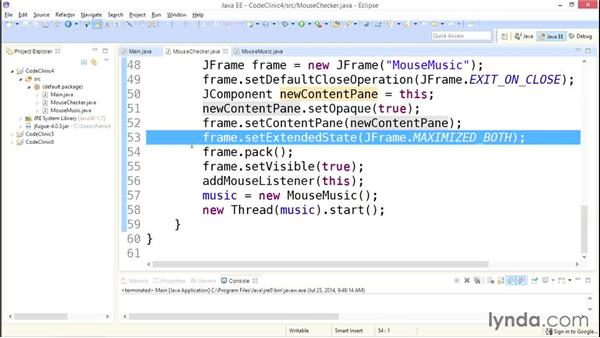 My solution: Accessing the mouse: Code Clinic: Java