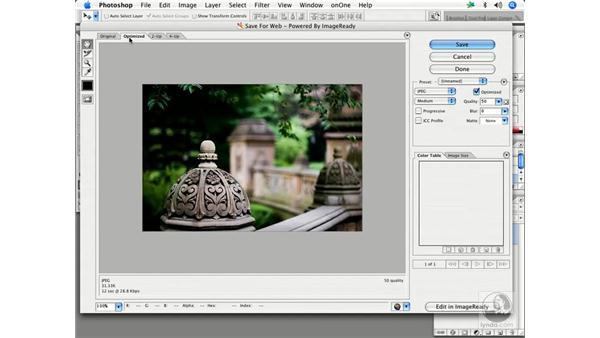 Saving Web images 1: Enhancing Digital Photography with Photoshop CS2
