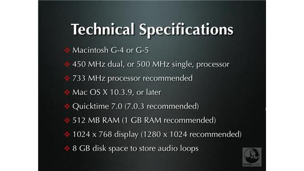 Technical specifications: Soundtrack Pro Essential Training
