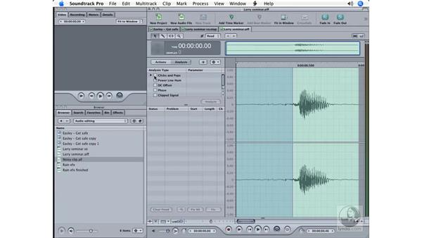 Working with the Analyze menu: Soundtrack Pro Essential Training