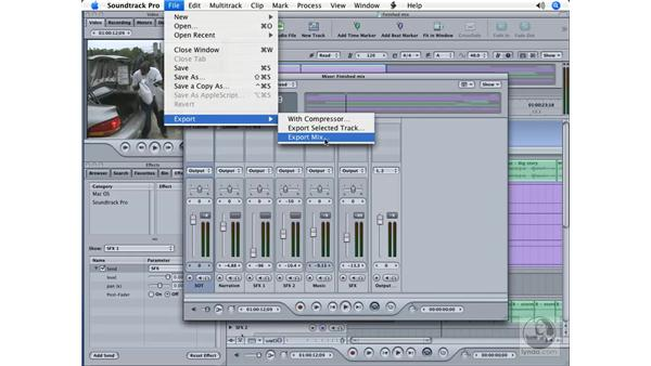 Exporting for output: Soundtrack Pro Essential Training