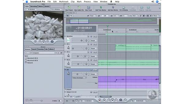 Integrating the mix back into Final Cut: Soundtrack Pro Essential Training