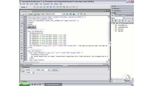 Code collapse: Dreamweaver 8 Beyond the Basics