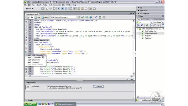 Commenting code: Dreamweaver 8 Beyond the Basics
