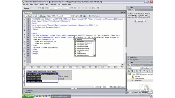 Working with floats: Dreamweaver 8 Beyond the Basics