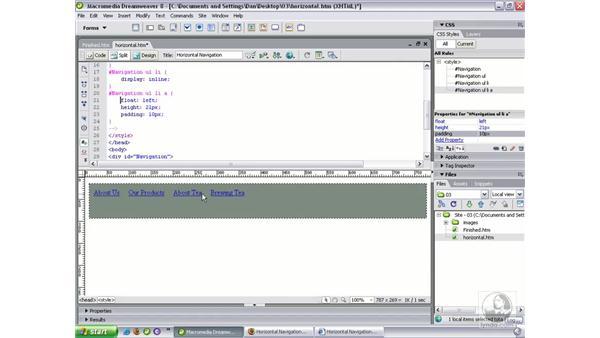 Horizontal navigation bar: Dreamweaver 8 Beyond the Basics