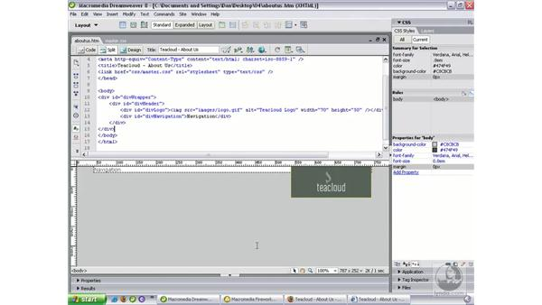 Building the header and navigation: Dreamweaver 8 Beyond the Basics