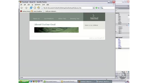Finishing the content: Dreamweaver 8 Beyond the Basics