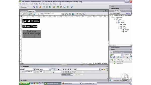 Styling a local XML file: Dreamweaver 8 Beyond the Basics