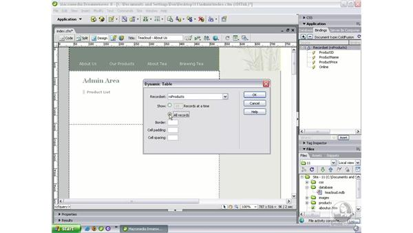 Building the admin home page: Dreamweaver 8 Beyond the Basics