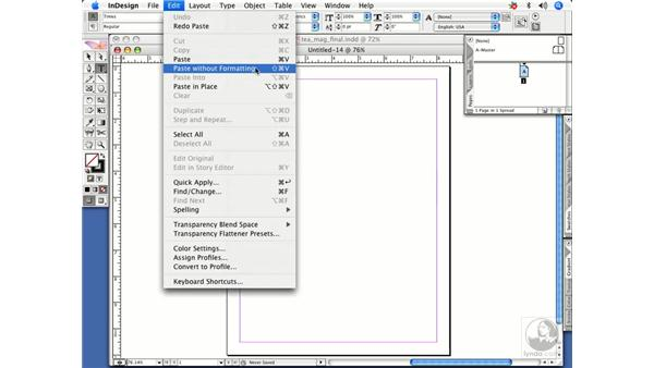Stripping formatting when pasting text: InDesign CS2 Power Shortcuts