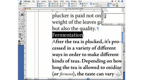 Paragraph and character style palettes: InDesign CS2 Power Shortcuts