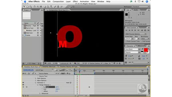 Textacy: fly-in zoom titling: After Effects 7 Animation Techniques