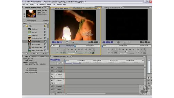 Setting in and out points: Premiere Pro 2 Essential Training
