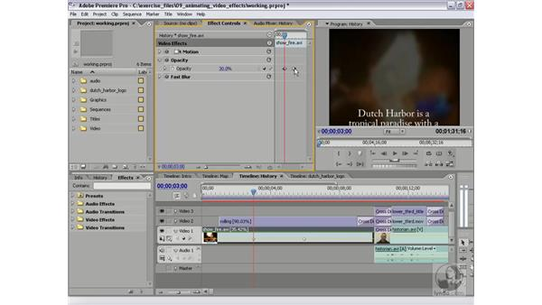 Animating opacity in the timeline: Premiere Pro 2 Essential Training