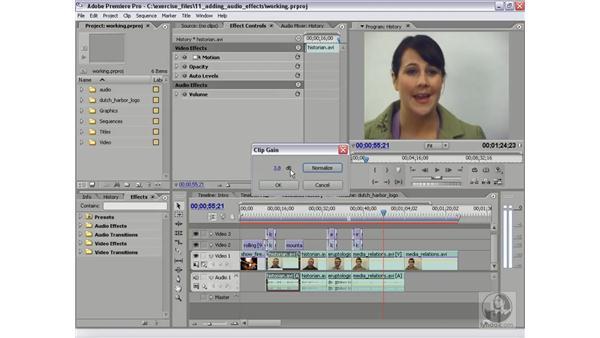 Changing audio gain: Premiere Pro 2 Essential Training